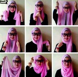 tutorial hijab paris berkacamata 2