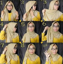 tutorial hijab paris berkacamata 4
