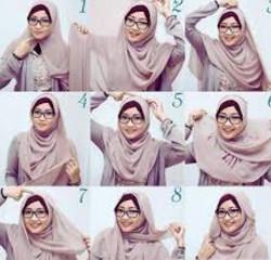 tutorial hijab paris berkacamata 5