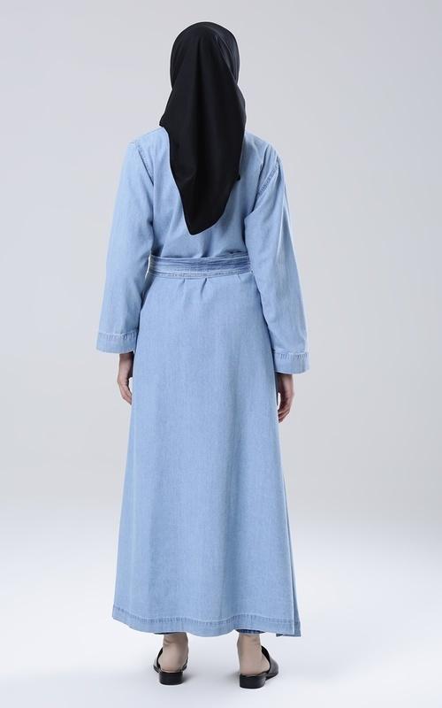 Cardigan - Long Kimono Denim Yuriko - Light Blue