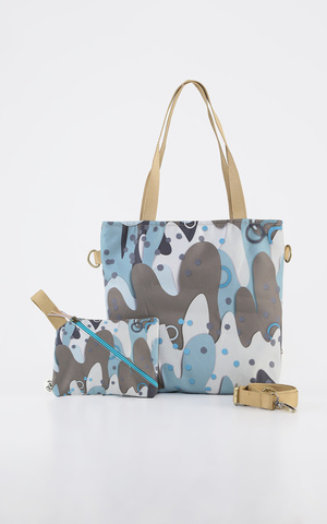 Khaki Abstract Slingbag Set