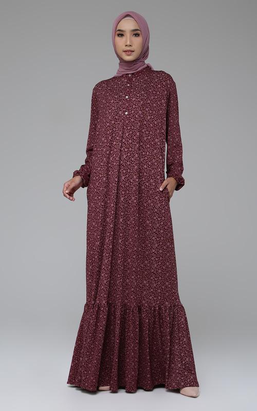 Long Dress - Wafa Dress - Maroon