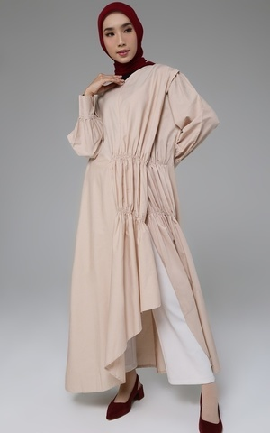 Long Dress Cotton Pleated