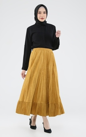 Long Skirt Plisket Ruffle