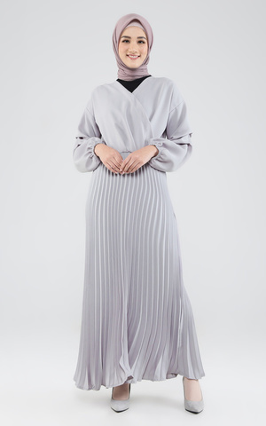 Marie Pleats Dress Grey