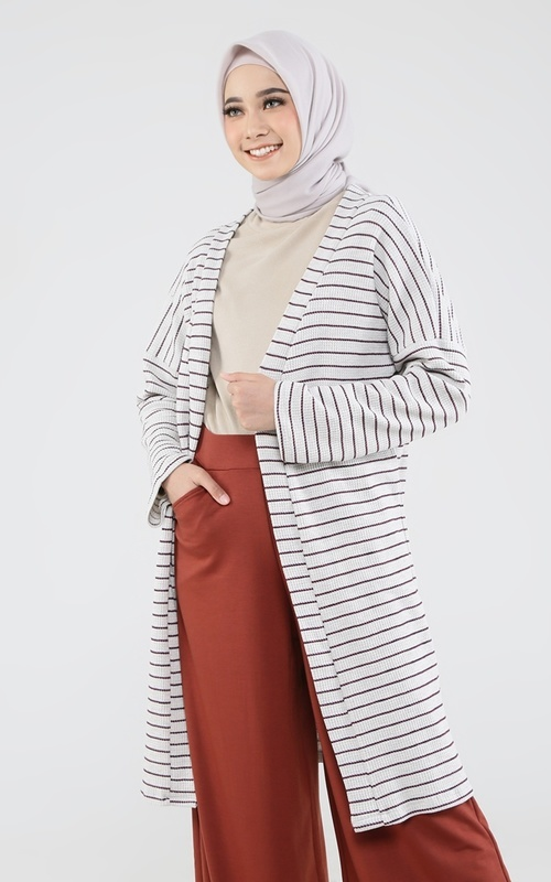 Cardigan - Ulani Outer - Grey Stripe Maroon
