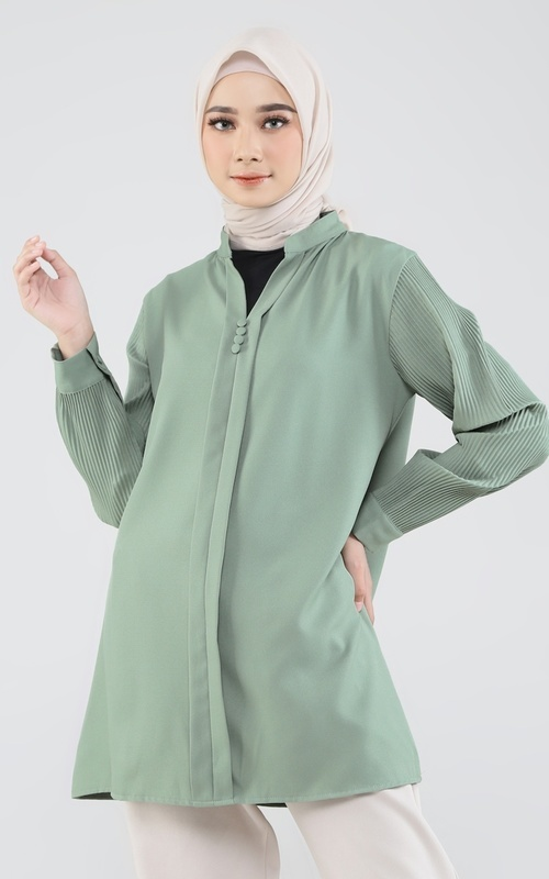 Tunic - Tunik Plisket Ammy - Light Green