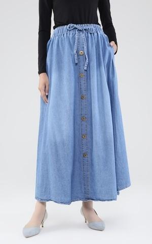 Long Skirt Denim Flare w/ Button