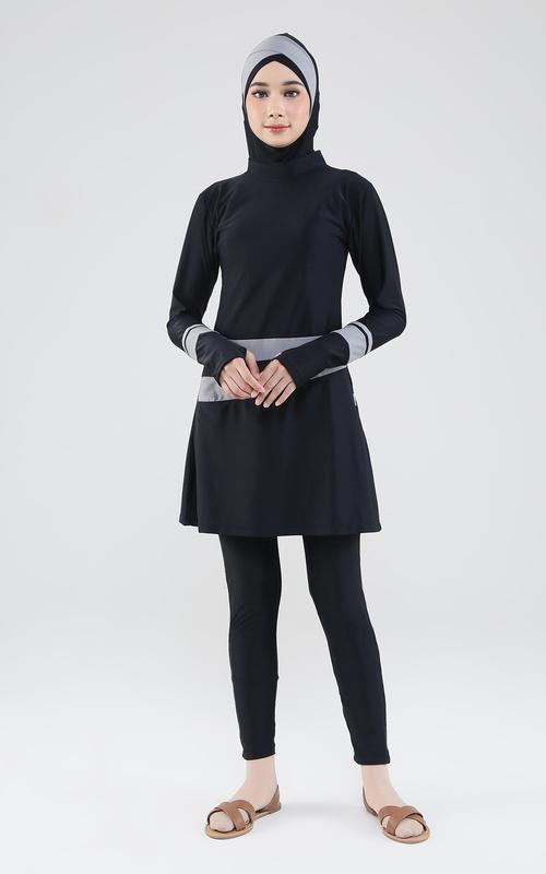 Pakaian Olahraga - Fatina Swimwear - Black Grey