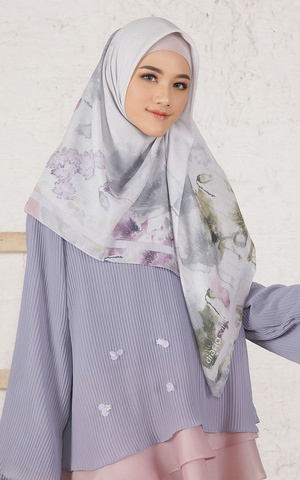 Callia White Purple Scarf Voal for HIJUP