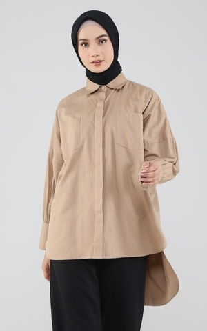 Basic Cotton Shirt in Mocca