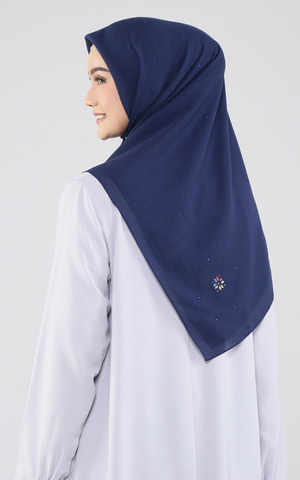 Twinkle Color Label Scarf - Navy