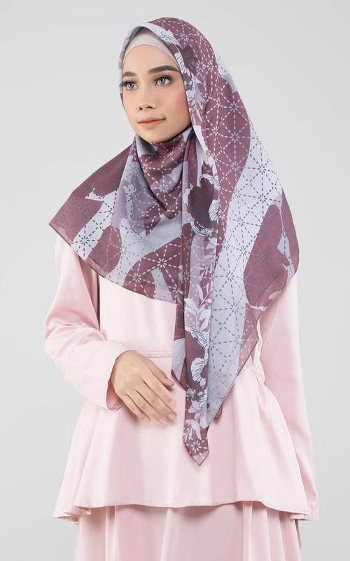 Printed Scarf - Lotty Red Maroon - Red