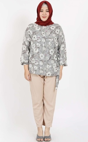 Grey Flower Blouse