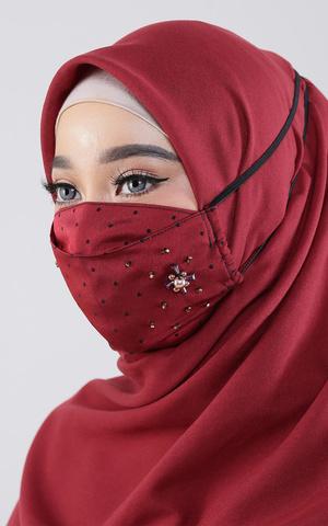 Polka Maroon Mask Headloop