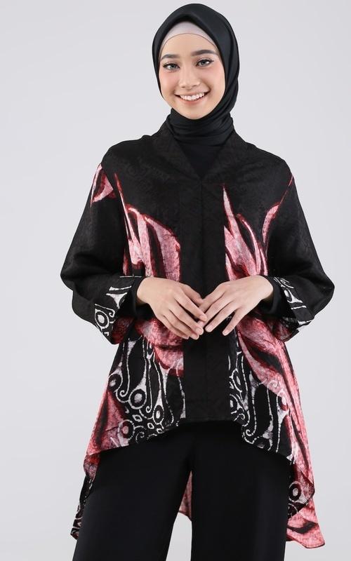 Blus - Blouse Kalong Kerah - Black Pink
