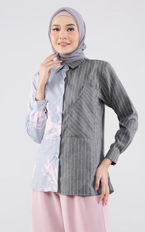 Blouse - Lila Top - Print Grey
