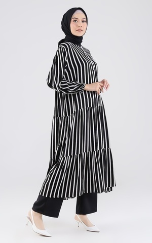 Camelia Tunic - Black Stripe