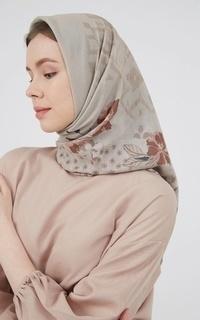Printed Scarf Blossom Eid Voal Cream