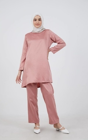 Barliana Tunic Saten Dusty Pink