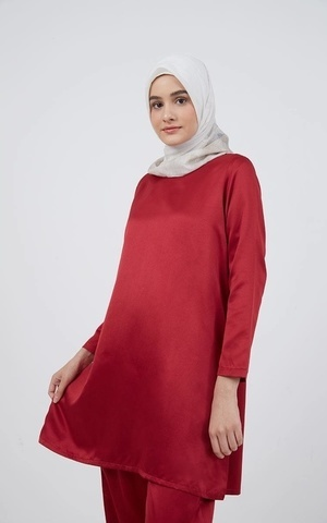 Barliana Tunic Saten Maroon