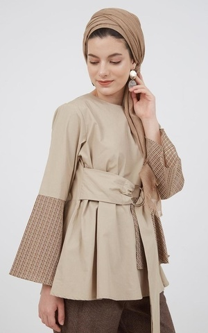 Hellen Flare Sleeve Top Brown