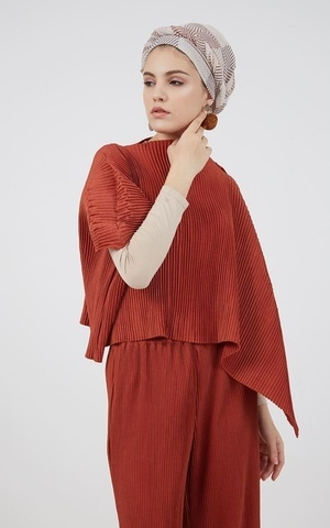 Berrybenka Modest - Ikase Pleated Top Teracotta