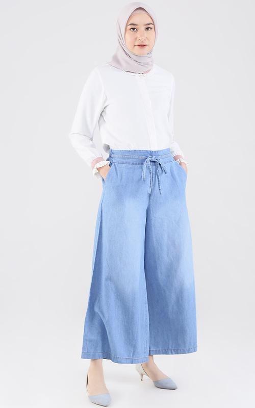 Pants - Kulot Denim Zahra - Light Blue
