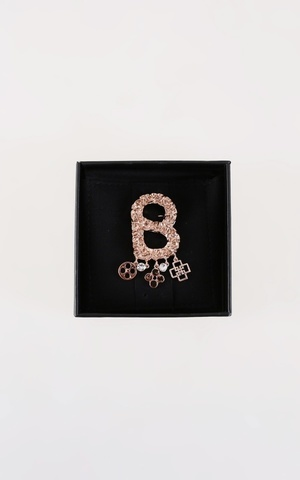 Textured Brooch with Charm - Rose Gold