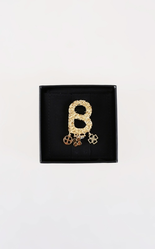 Brooch - Textured Brooch with Charm - Gold - Gold