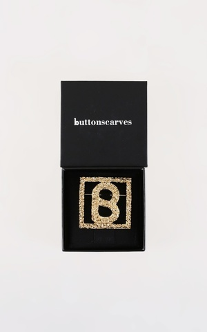 Big Square Textured Brooch - Gold