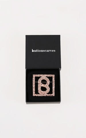 Big Square Textured Brooch - Rose Gold