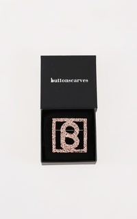 Brooch Big Square Textured Brooch - Rose Gold