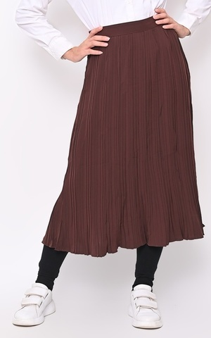Celia Pleats Midi Skirt Choco