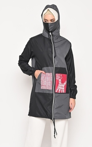 Aleza Parachute Long Jacket Black