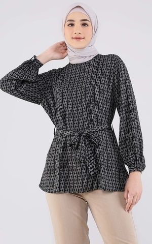 Black Serie Blouse With Tie