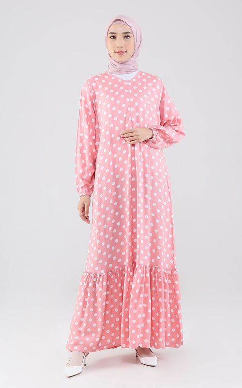 Gamis - Nafisah Dress 2 - Pink Polka