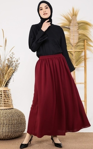Plain Maroon Skirt