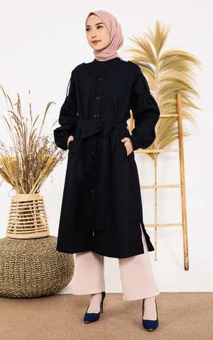 Hera Coat in Blue Black