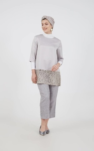 Rosianna Lace Tunic Grey