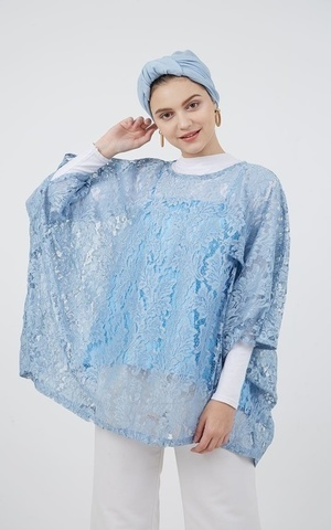 Rosenda Boxy Lace Tucked Blouse Blue