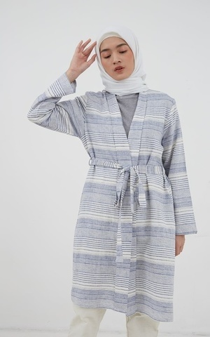 Kinana Stripe Long Sleeve Outer Blue