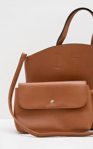 Sophie Poppy Basic Shoulder Bag Tan