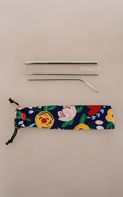 Home Living - Pouch + Straw Stainless 5in1 - Navy Heart Flower