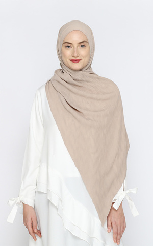 Fatima Pleated Hijab - Oyster