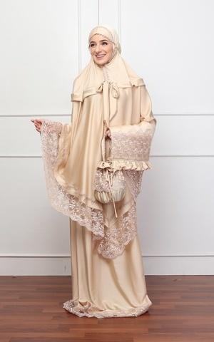 Shania Mukena Premium in Mocca Gold
