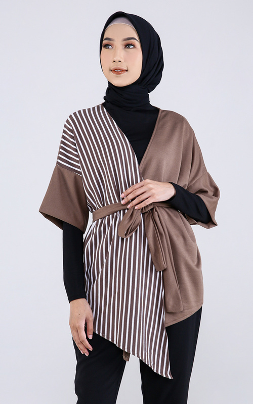 Shafia Top Outer with Belt - Salur-Mocca