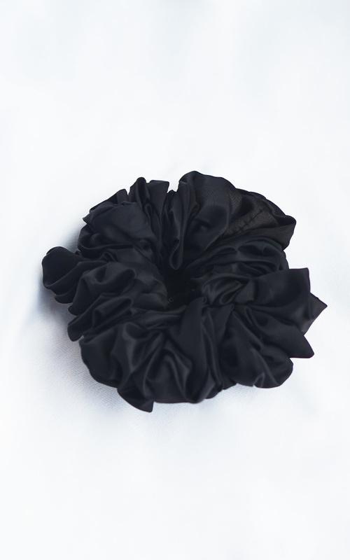 Headpiece - Scrunchie Silk Jumbo - Black - Black