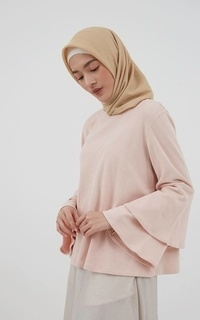 Wishlee Flare Sleeve Tops Dusty Pink