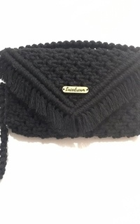 Mini Clutch Macrame Black